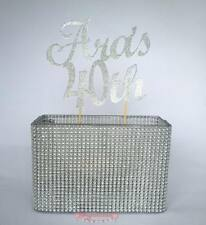 Custom Glitter Cake Topper 2 LINE 2 WORD Birthday, Wedding 21st  30th 40th Baby
