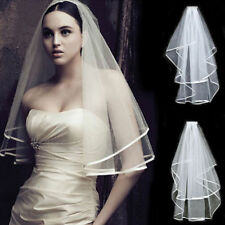 2T White Bride Wedding Bridal With Veils Satin Edge Elbow Wedding Accessories