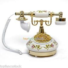White Phone Flower Ceramic Vintage Antique Style Rotary Dial Desk Telephone