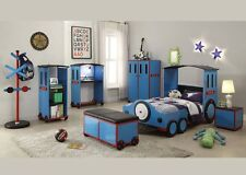 "Acme ""Tobi"" 7 Piece Twin Fun Blue Child Bed Set Furniture 37560T"