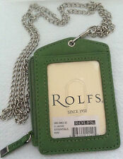 Rolfs Green ID Badge Holder Leather W/ Zipper Lanyard 3 Credit Slot 1 ID Window