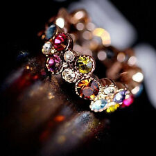Hot Sale! Fashion Lovely Flower Round Multicolor Ring For Girl Lady Wedding Gift