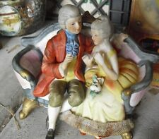 Vintage Bisque Royal Crown Cucci Victorian Man and Woman on Couch Figurine