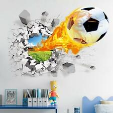 Home Room Wall Decor 3D Football Wall Stickers Vinyl Art Mural Decal Bedroom