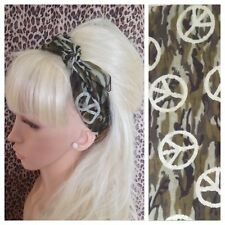 CAMOUFLAGE CAMO CND SIGN PRINT COTTON SQUARE BANDANA HEADBAND HAIR NECK SCARF