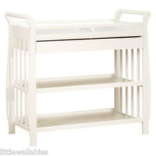 INFANT NEWBORN BABY CHANGING TABLE FURNITURE NADIA WHITE 3 SLEIGH TIERS +DRAWER