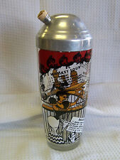 VINTAGE GLASS COCKTAIL SHAKER ALUMINUM LID W/SPOUT DRINK RECIPES GAY 1890'S PICS