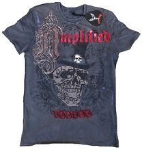 Amplified SAINT&SINNER TOP HAT SKULL VOODOO Rock Star Strass ViP T-Shirt g.S/M