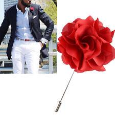 Da Uomo Bavero Floreale Boutonniere Rosso Bastone Spilla Men's Shirt Suit Tie FATTA A MANO