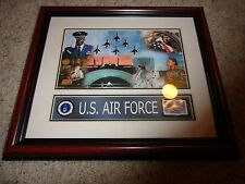 US Air Force Honoring Veterans USPS Wood Wall Plaque with 34c Stamp and Badge