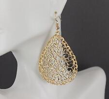 "Gold teardrop earrings dangle cutout filigree scroll oval 2.75"" long medallion"
