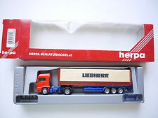 SZ truck MAN TG-A LX 40ft FlatContainer LIEBHERR, Herpa #147521 1:87 H0 boxed!