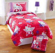HELLO KITTY 4pc Twin Bedding Reversible Comforter, Sheet Set, Tote Girl Hot Pink