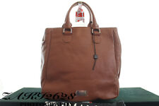 BNWT ARMANI COLLEZIONI WOMEN BROWN GRAIN LEATHER TOTE HAND BAGS MADE IN ITALY