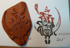 P6 Halloween witch on moon with cat rubber stamp UM 3x2""