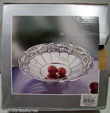 "BEAUTIFUL 7"" FRUIT TRAY w 3 FEET SILVER PLATED BRAND-NEW"