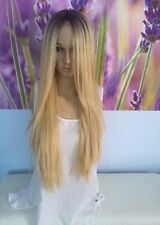 Ombre Dark Roots To Golden  Blonde Lace Front Wig human hair blend   27''