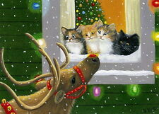 Kittens cats Rudolph reindeer Christmas window limited edition aceo print art