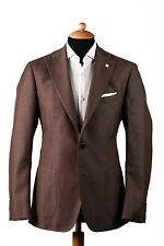 New LARDINI Solid Cotton Jacket Blazer Pin of Mother Pearl Brown 38US 48EU
