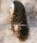 It's Back! Dark Brown Mix 3/4 Wig Fall Hair Piece Long Curly Half Wig Hairpiece