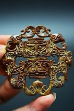 Unique Chinese old jade carved dragon&phoenix lucky pendant   H4