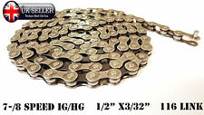 """BICYCLE CHAIN 1/2""""X3/32"""" 116 LINK 7-/8SPEED IG/HG Speed Chain Mountain Bike Road"""
