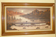 Vintage Oil on Canvas Landscape Scene Mountains with Lake & Water Scene