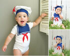 2pcs Infant Baby Girl Boy Toddler Unisex Short Sailor Hat+Romper Clothes Outfit