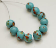 VINTAGE Chinese Peking Glass Beads_Blue w/ Yellow Red Eyes_Set of 10 Pcs.