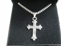 """10 x Silver Plated 18"""" Necklaces & Scroll Cross Pendant with Gift Boxes"""