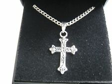 "20 x  New Silver Plated 18"" Necklaces & Scroll Cross Pendant with Gift Boxes"