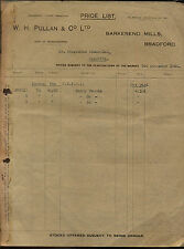VINTAGE 1924 MANCHESTER CLOTH COM M/S H. PULLAN & CO.PRICE LIST TO INDIA #2588