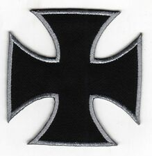 Iron On/ Sew On Embroidered Patch Badge Malta Cross Maltese Cross Black & Silver