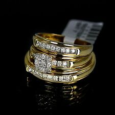 Mens Ladies Yellow 10K Gold Genuine Real Diamond Ring Engagement Wedding Set