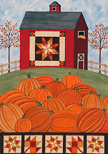 Primitive  BARNStar Red Barn Pumpkin Patch Quilted Trim 741 *FQ LARGE Flag