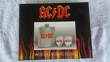 AC/DC STAINLESS STEEL HIP FLASK & 2 SHOT GLASSES. OFFICIAL MERCHANDISE. 2010.