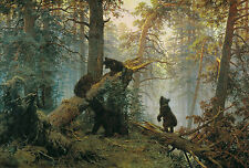 """Morning in a Pine Forest Bear Family Painting 12.2"""" x 18 Real Canvas Art Print"""