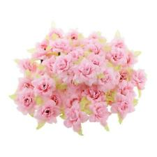 50Pcs Fake Roses Artificial Silk Flowers Heads Bulk Wedding DIY Decor Pink
