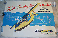 VINTAGE REPUBLIC AVIATION SEABEE ADVERTISING POSTER W/P-47 IN BACKROUND 1946