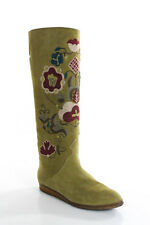 Joan & David Olive Green Suede Embroidered Knee High Boots Size 7