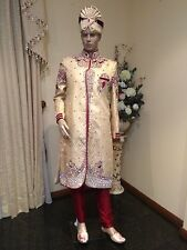 "38"" M 95cm Silk Sherwani Suit Groom Indian Bollywood Mens Kurta Golden Cream MLL"