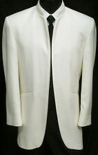 "Ivory Off-White Bone ""Mirage"" Mandarin Nerhu Tuxedo Dinner Jacket Wedding 40R"