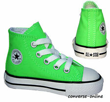 BABY Toddler Boys CONVERSE All Star NEON GREEN HI TOP Trainers Boot 19 SIZE UK 3