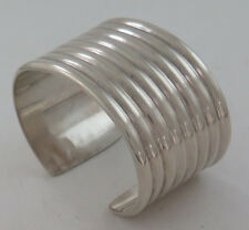 Ultra Heavy Solid Sterling Silver Ribbed Elegant Taxco Cuff Bracelet