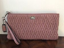 NWT Coach Madison Tea Rose Gather Twist Leather Wallet Flat Clutch Wristlet $248