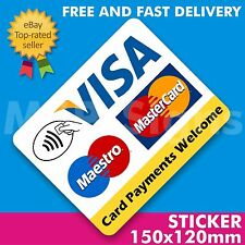 Card Contactless Payments Welcome Large Square 150x120mm Vinyl Sticker SHOP TAXI