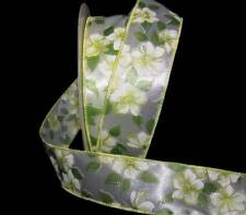 """5 Yards Spring Yellow Flowers Green White Satin Wired Ribbon 1 1/2""""W"""