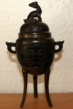 China Censer chinese Carved Bronze brass carving 20. Jahrh. Kylin Phönix Zenser