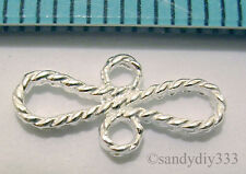 6x STERLING SILVER BRIGHT RIBBON LINK CONNECTOR BEADS 12.6mm 6.4mm N040