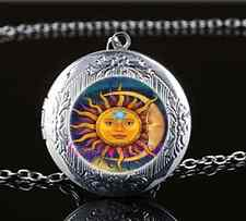 Sun Moon and Star Photo Glass Tibet Silver Chain Locket Pendant Necklace